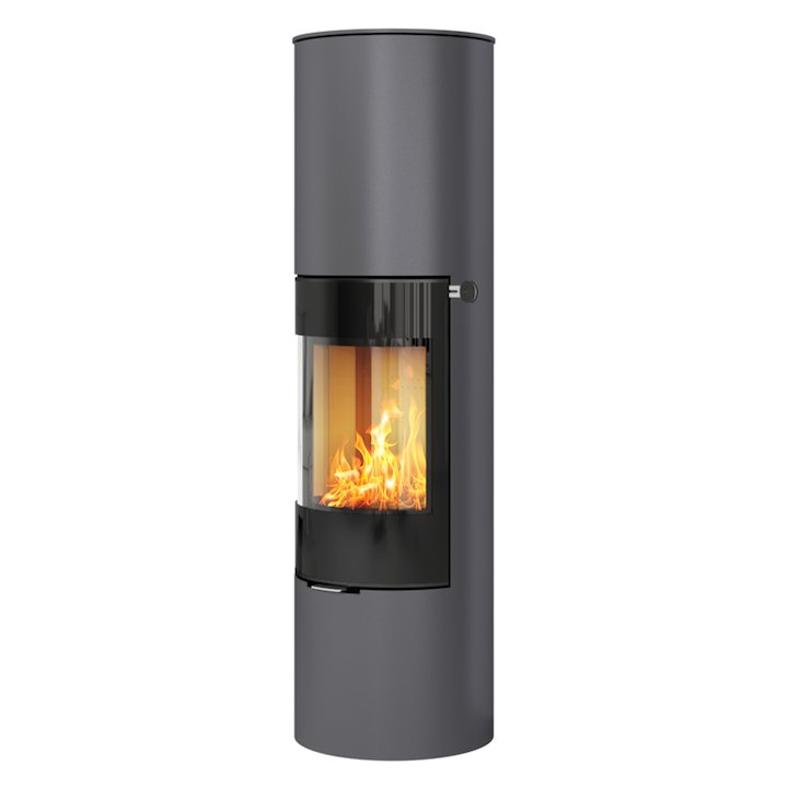 Rais Viva 160L Wood Stove Platinum Black Glass Framed Door Solid Sides - Platinum