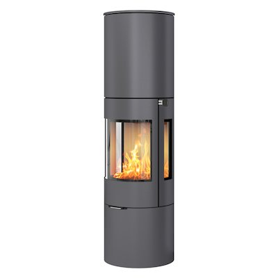 Rais Viva 160L Wood Stove Platinum Metal Framed Door Side Glass Windows