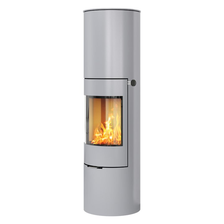 Rais Viva 160L Wood Stove Silver Metal Framed Door Solid Sides - Silver Filigree