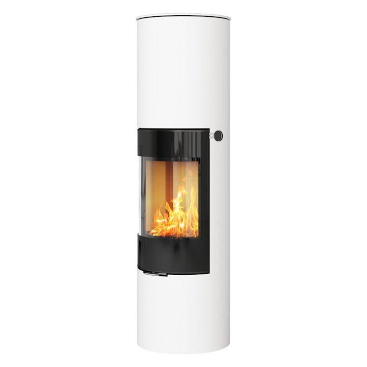 Rais Viva 160L Wood Stove White Black Glass Framed Door Solid Sides - White