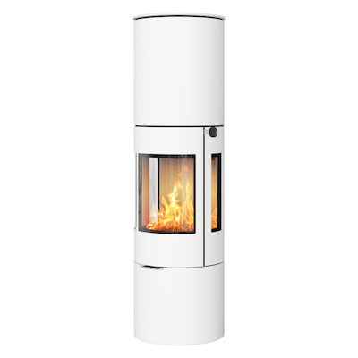 Rais Viva 160L Wood Stove White Metal Framed Door Side Glass Windows