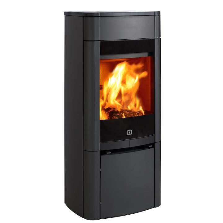 Scan 65 Wood Stove Black Solid Sides - Black