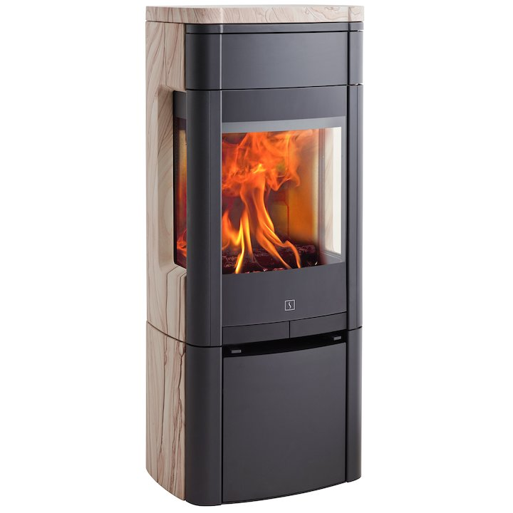 Scan 65 Wood Stove Black/Sandstone Side Glass Windows - Black / Sandstone