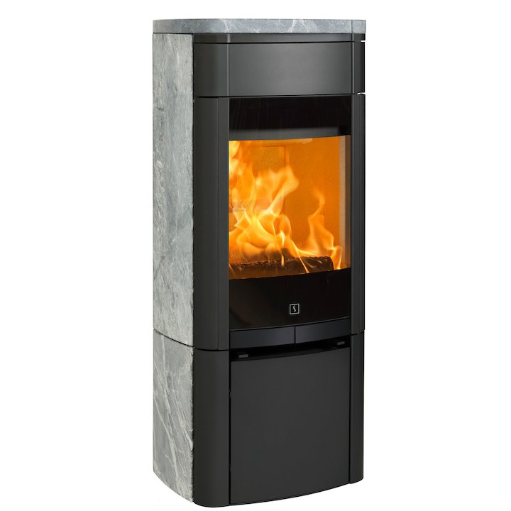 Scan 65 Wood Stove Black/Soapstone Solid Sides - Black / Soapstone