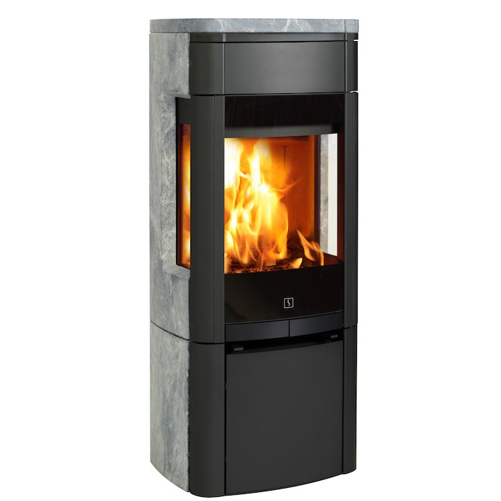 Scan 65 Wood Stove Black/Soapstone Side Glass Windows - Black / Soapstone
