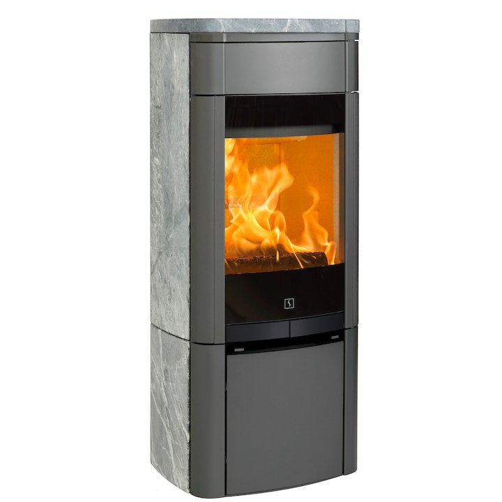 Scan 65 Wood Stove Grey/Soapstone Solid Sides - Grey / Soapstone