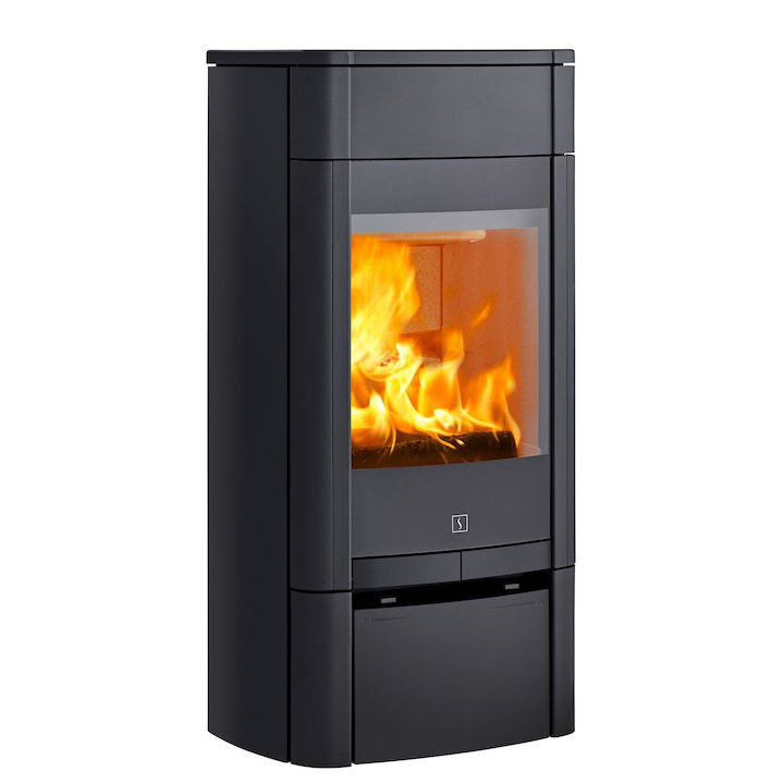 Scan 65 Low Wood Stove Black Solid Sides - Black