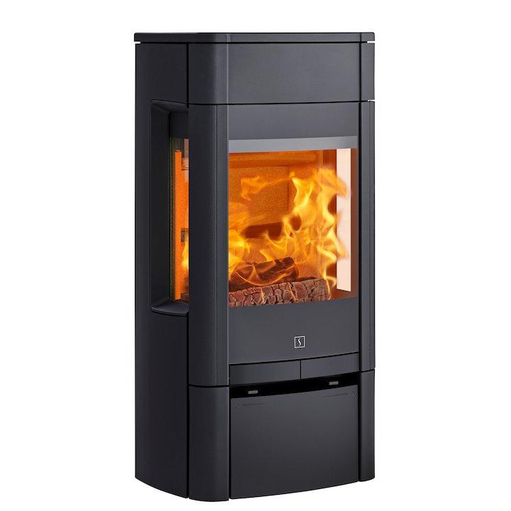 Scan 65 Low Wood Stove Black Side Glass Windows - Black