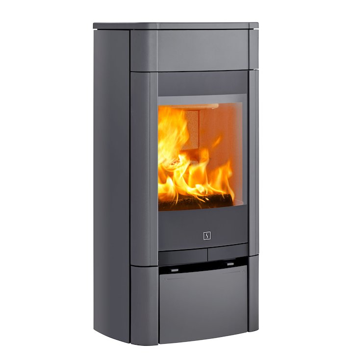 Scan 65 Low Wood Stove Grey Solid Sides - Grey