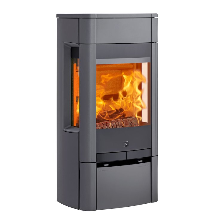 Scan 65 Low Wood Stove Grey Side Glass Windows - Grey