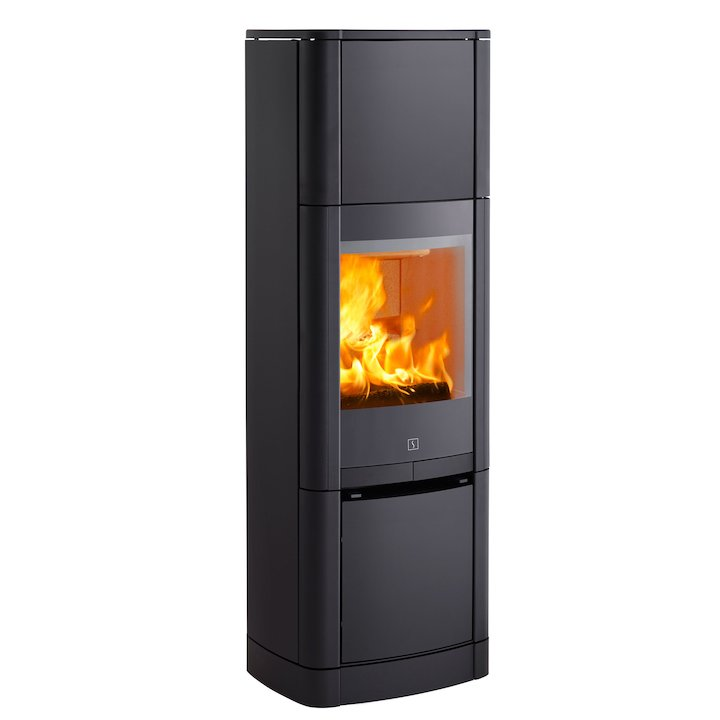 Scan 65 High Top Wood Stove Black Solid Sides - Black