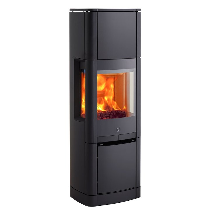 Scan 65 High Top Wood Stove Black Side Glass Windows - Black