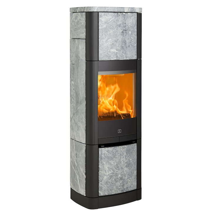 Scan 65 High Top Wood Stove Black/Soapstone Solid Sides - Black / Soapstone