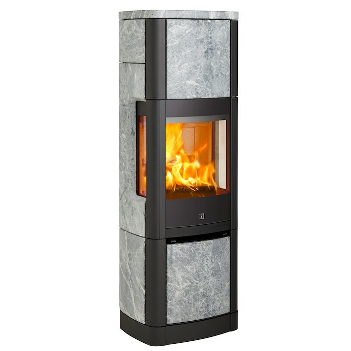 Scan 65 High Top Wood Stove Black/Soapstone Side Glass Windows - Black / Soapstone