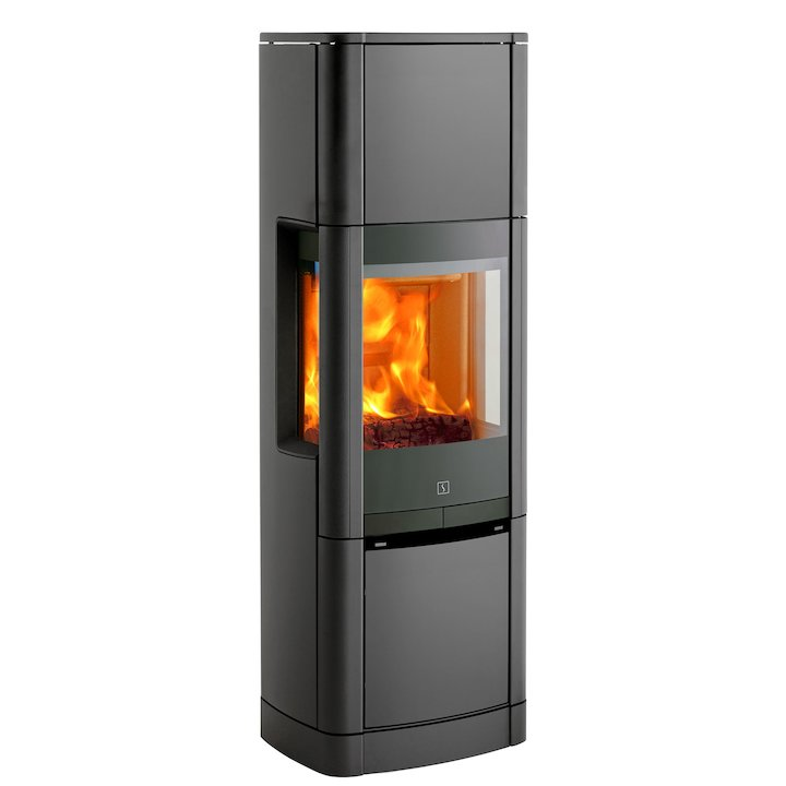 Scan 65 High Top Wood Stove Grey Side Glass Windows - Grey