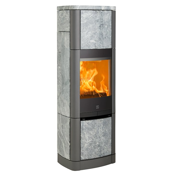 Scan 65 High Top Wood Stove Grey/Soapstone Solid Sides - Grey / Soapstone