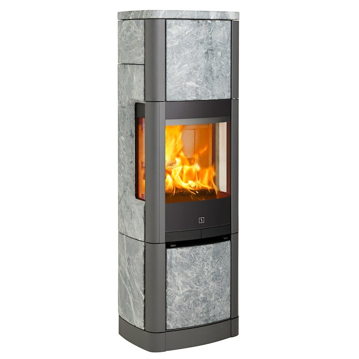 Scan 65 High Top Wood Stove Grey/Soapstone Side Glass Windows - Grey / Soapstone