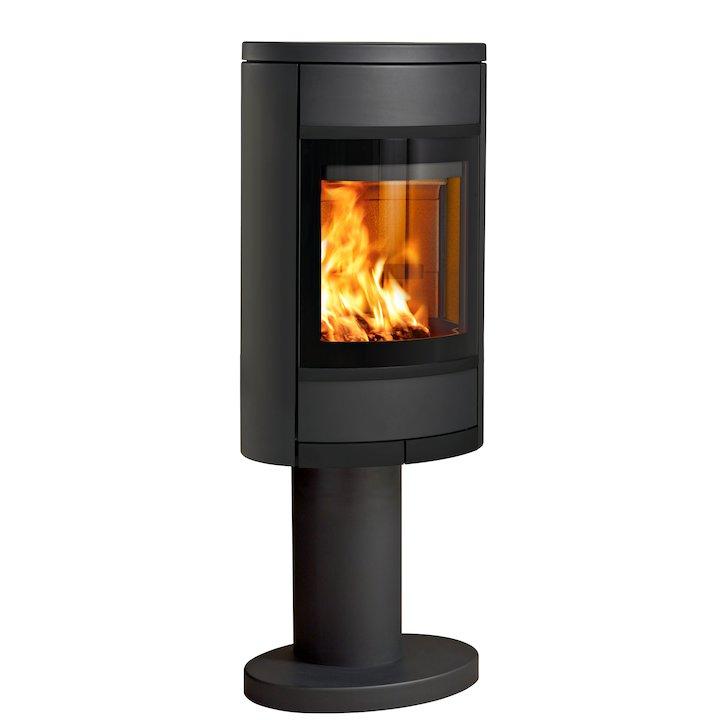 Scan 68 Pedestal Wood Stove Black Solid Sides Black Trim - Black