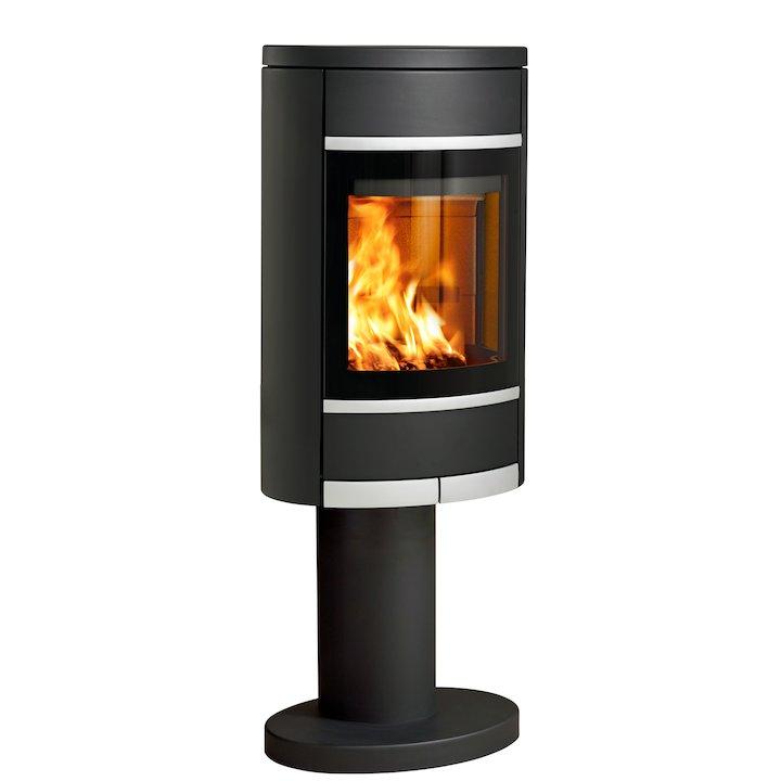 Scan 68 Pedestal Wood Stove Black Solid Sides Silver Trim - Black