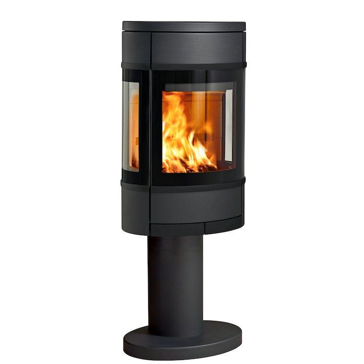 Scan 68 Pedestal Wood Stove Black Side Glass Windows Black Trim - Black