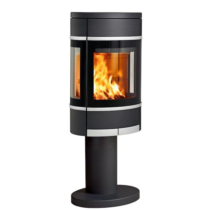 Scan 68 Pedestal Wood Stove Black Side Glass Windows Silver Trim - Black