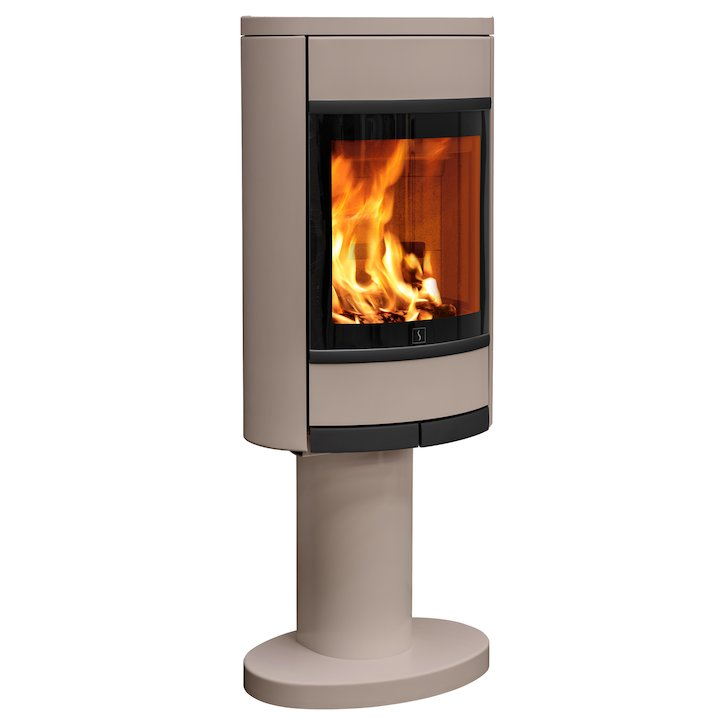 Scan 68 Pedestal Wood Stove Champagne Solid Sides Black Trim - Champagne