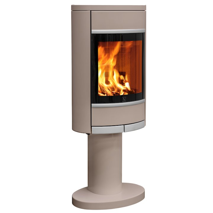 Scan 68 Pedestal Wood Stove Champagne Solid Sides Silver Trim - Champagne