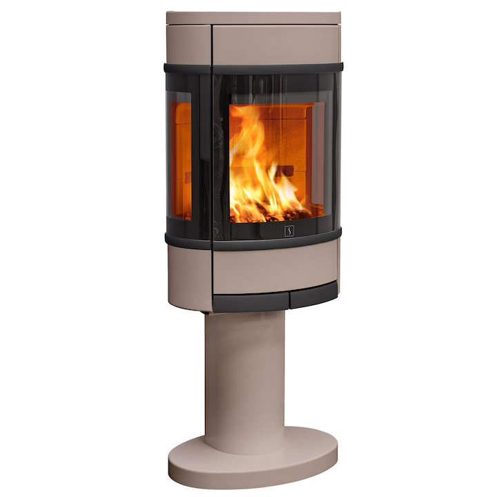 Scan 68 Pedestal Wood Stove Champagne Side Glass Windows Black Trim - Champagne