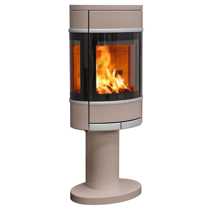 Scan 68 Pedestal Wood Stove Champagne Side Glass Windows Silver Trim - Champagne