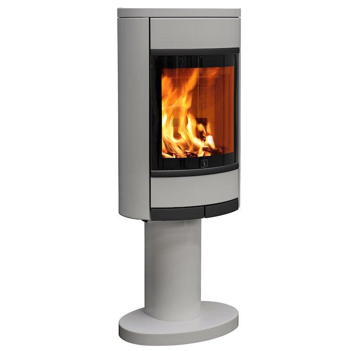 Scan 68 Pedestal Wood Stove Silver Solid Sides Black Trim - Silver Filigree