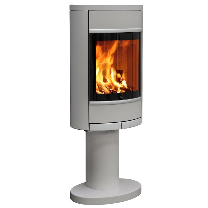 Scan 68 Pedestal Wood Stove Silver Solid Sides Silver Trim - Silver Filigree