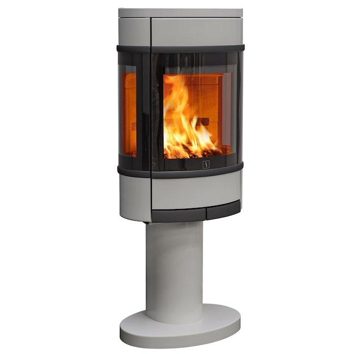 Scan 68 Pedestal Wood Stove Silver Side Glass Windows Black Trim - Silver Filigree