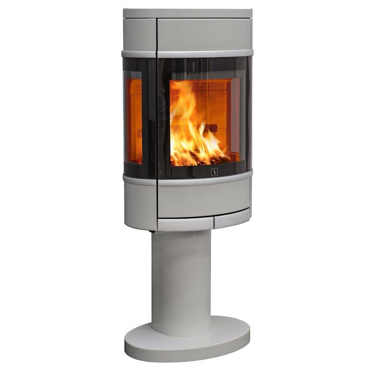 Scan 68 Pedestal Wood Stove Silver Side Glass Windows Silver Trim - Silver Filigree
