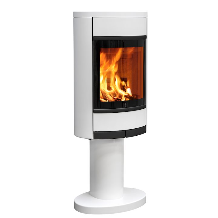 Scan 68 Pedestal Wood Stove White Solid Sides Black Trim - White