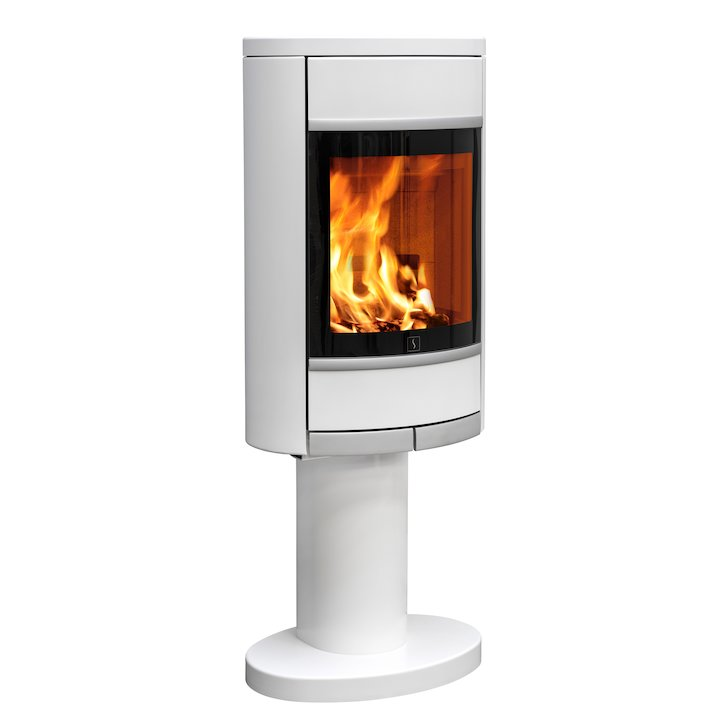 Scan 68 Pedestal Wood Stove White Solid Sides Silver Trim - White