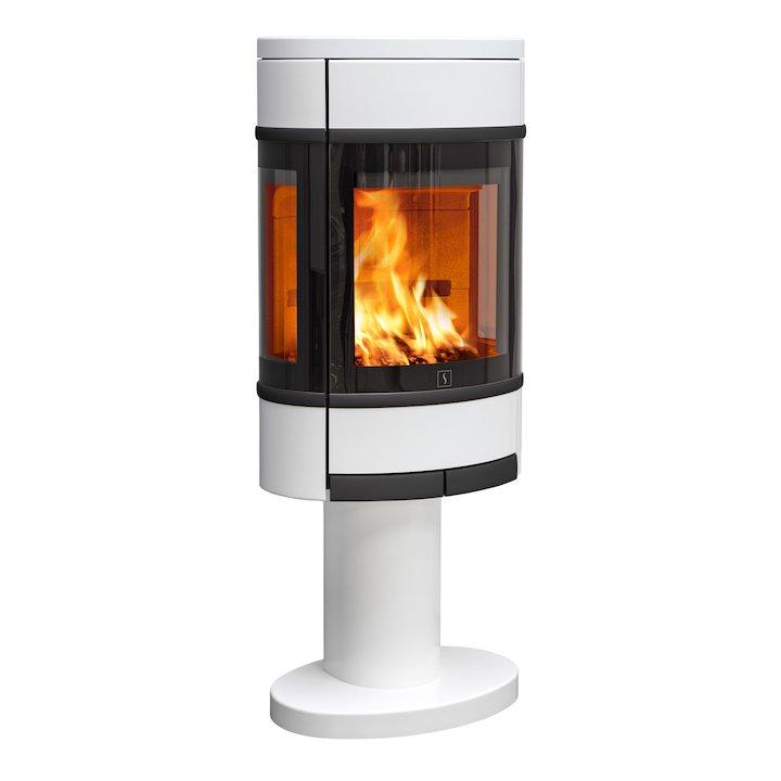 Scan 68 Pedestal Wood Stove White Side Glass Windows Black Trim - White