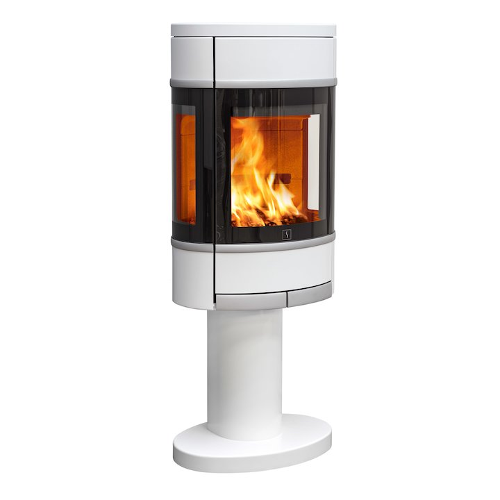 Scan 68 Pedestal Wood Stove White Side Glass Windows Silver Trim - White