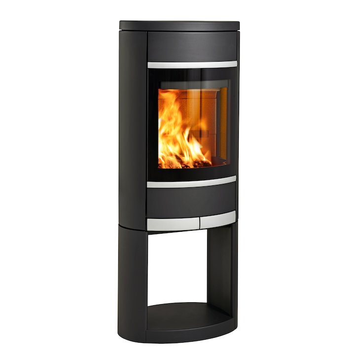 Scan 68 Logstore Wood Stove Black Solid Sides Silver Trim - Black