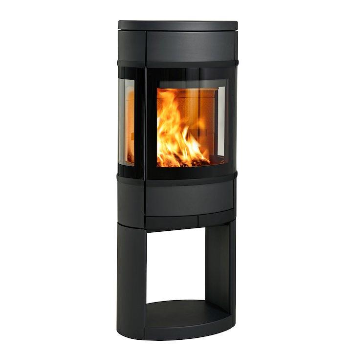 Scan 68 Logstore Wood Stove Black Side Glass Windows Black Trim - Black