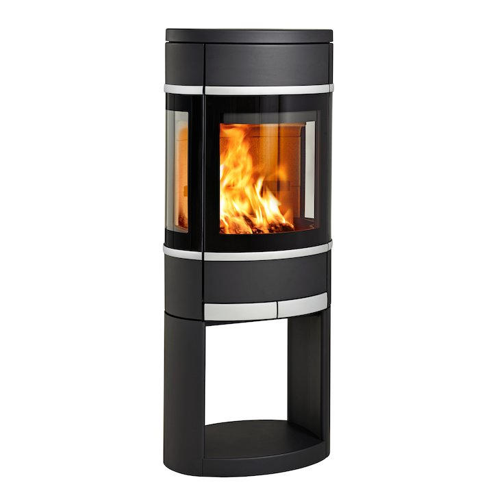 Scan 68 Logstore Wood Stove Black Side Glass Windows Silver Trim - Black
