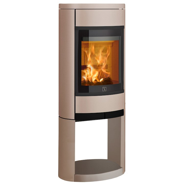 Scan 68 Logstore Wood Stove Champagne Solid Sides Black Trim - Champagne