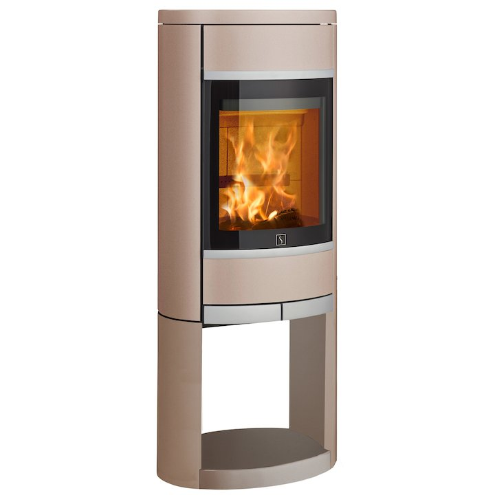 Scan 68 Logstore Wood Stove Champagne Solid Sides Silver Trim - Champagne