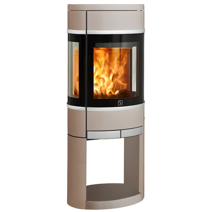 Scan 68 Logstore Wood Stove Champagne Side Glass Windows Silver Trim - Champagne