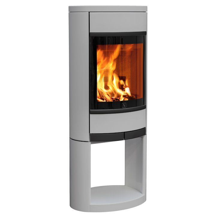 Scan 68 Logstore Wood Stove Silver Solid Sides Black Trim - Silver Filigree