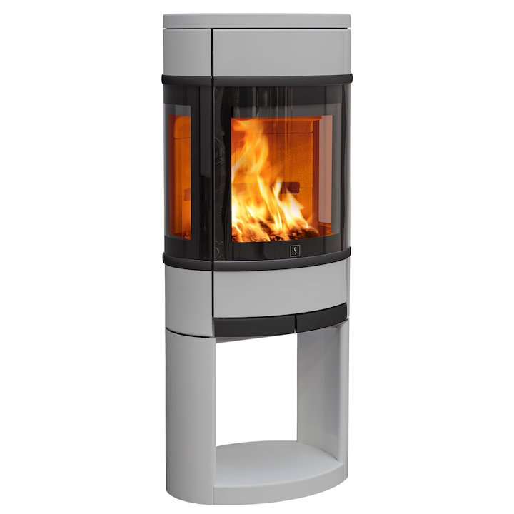 Scan 68 Logstore Wood Stove Silver Side Glass Windows Black Trim - Silver Filigree