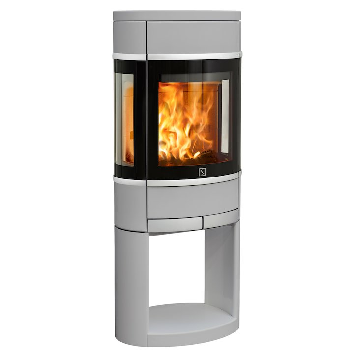 Scan 68 Logstore Wood Stove Silver Side Glass Windows Silver Trim - Silver Filigree