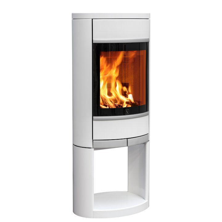 Scan 68 Logstore Wood Stove White Solid Sides Silver Trim - White