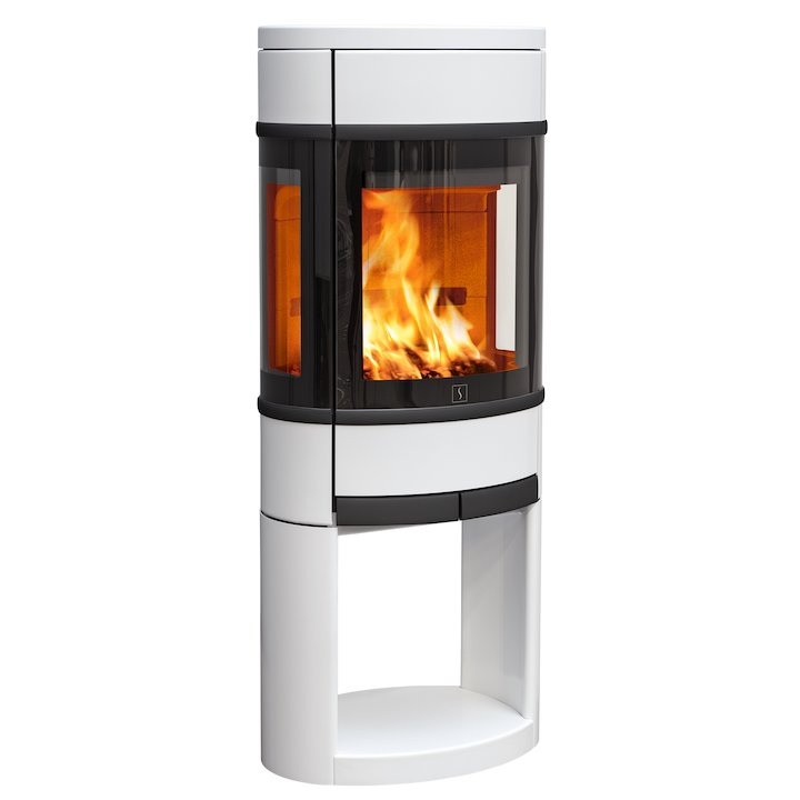Scan 68 Logstore Wood Stove White Side Glass Windows Black Trim - White