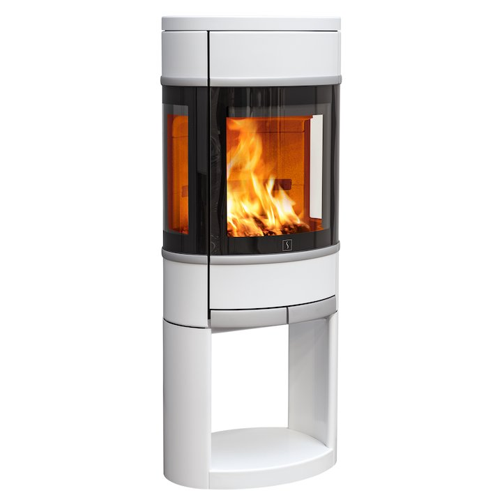 Scan 68 Logstore Wood Stove White Side Glass Windows Silver Trim - White