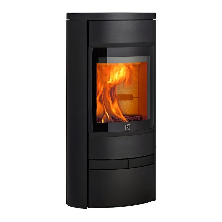 Scan 68 Low Base Wood Stove Black Solid Sides Black Trim - Black
